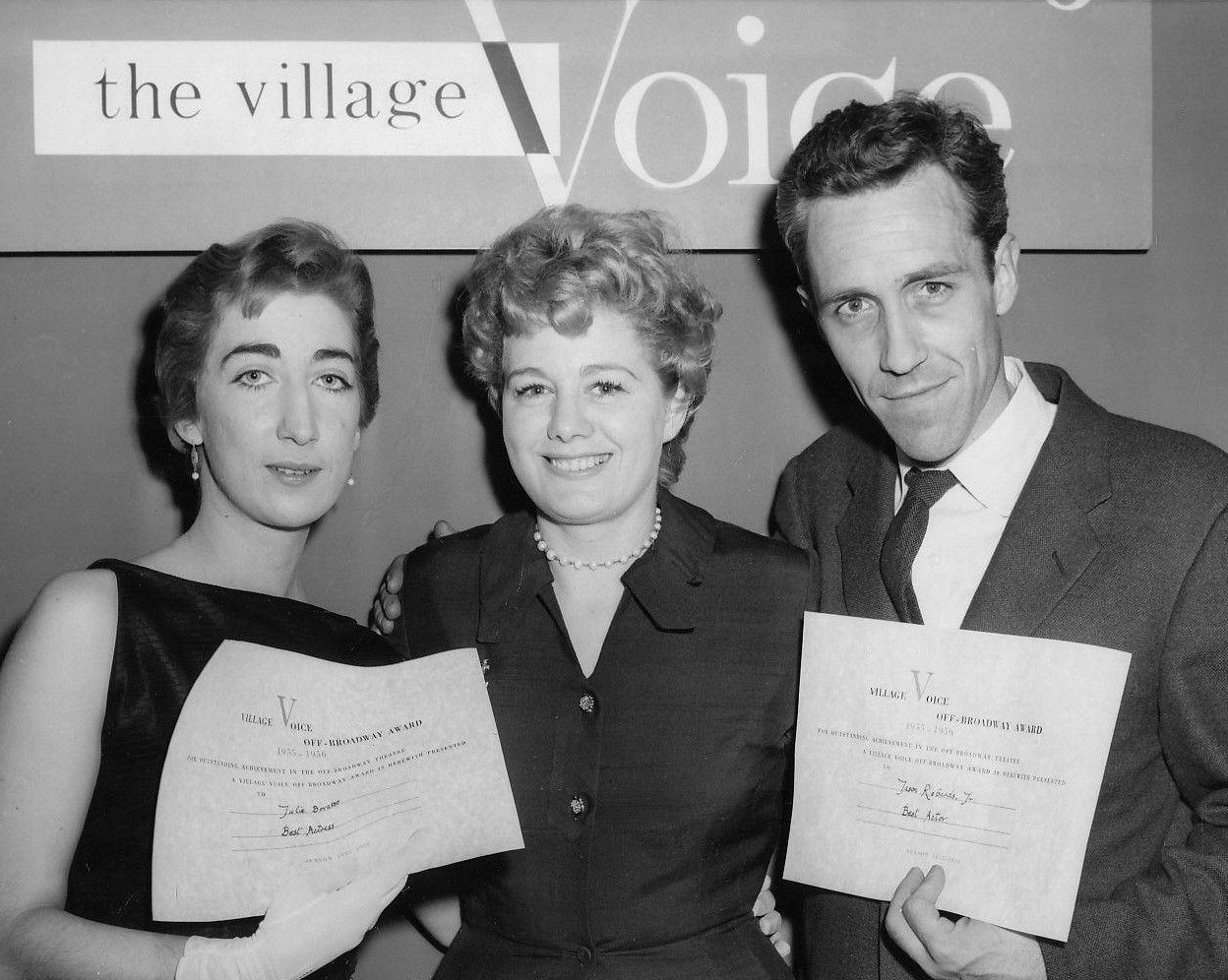 Julie Bovasso, Shelley Winters and Jason Robards at the 1956 Obie Awards
