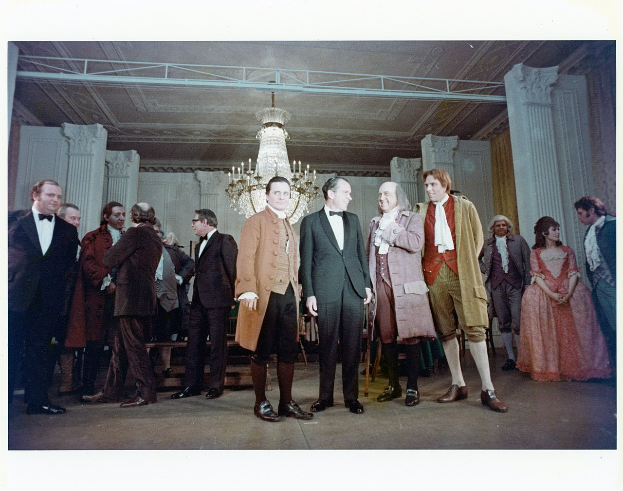 President Richard Nixon with the cast of  1776  after a performance in the East Room of the White House