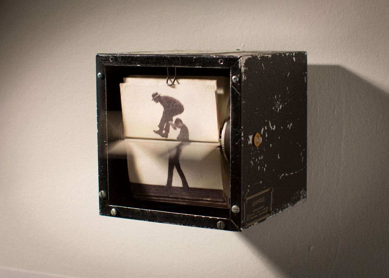 Eadweard Muybridge waltz mechanical flip book gallery installation