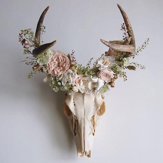 Meghan Lacroix, Deer Skull with Preserved Floral Crown