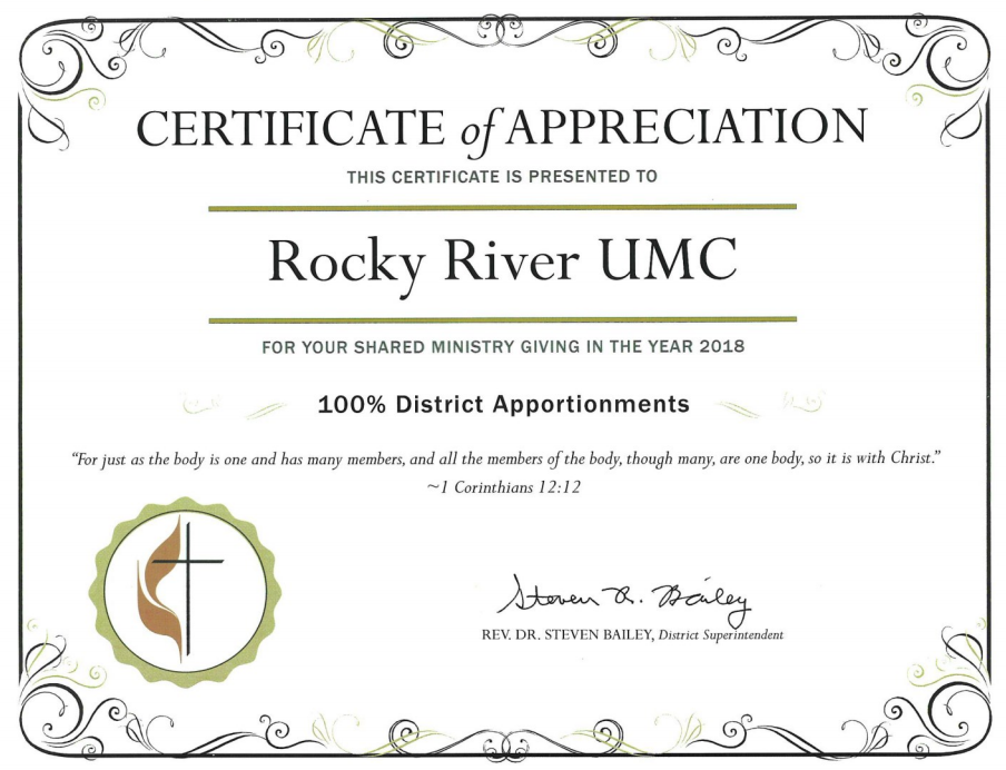 Certificate of Appreciation for paying 100% of our district apportionments in 2018.