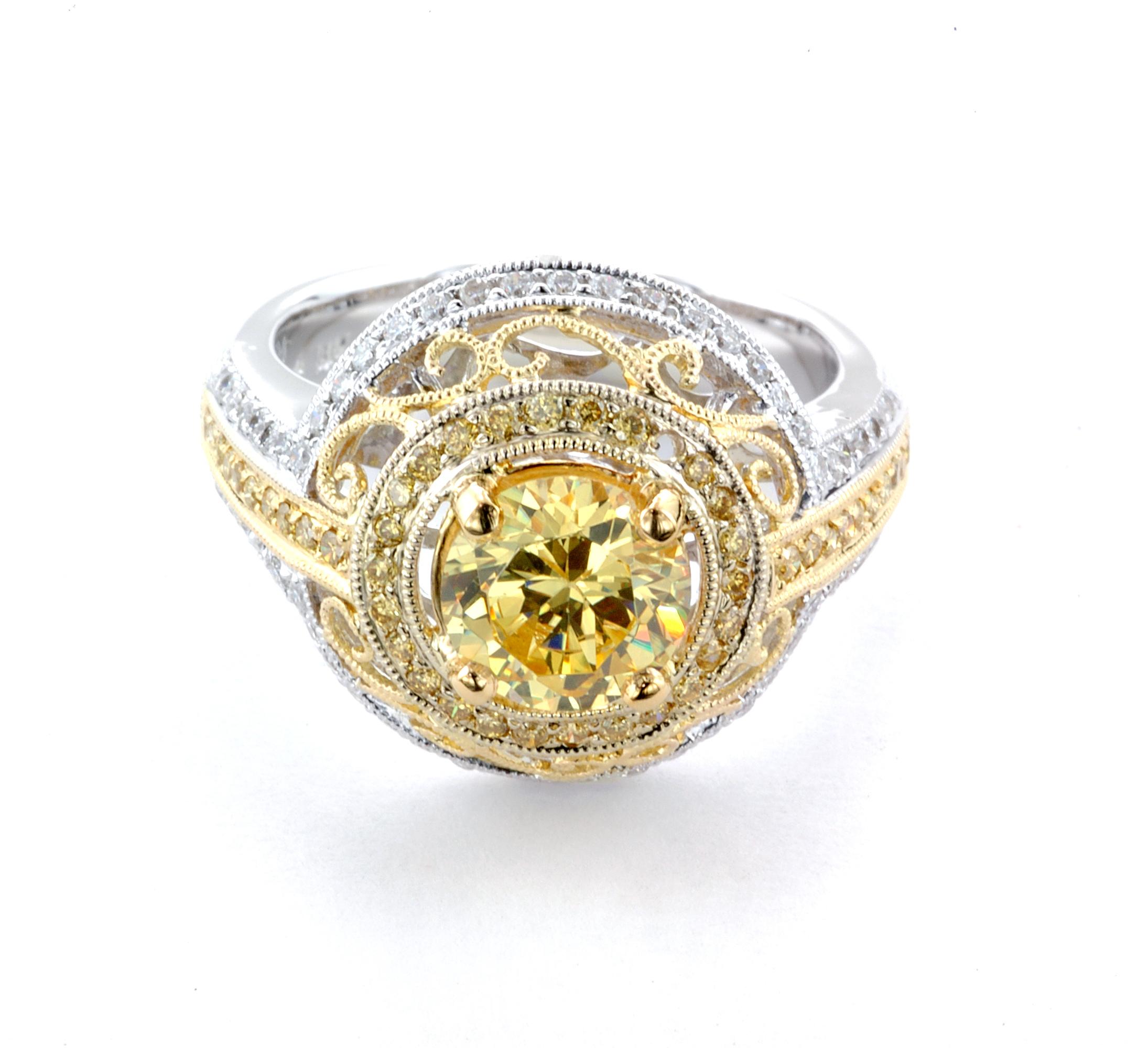 Yellow Diamond Filagree Custom Ring