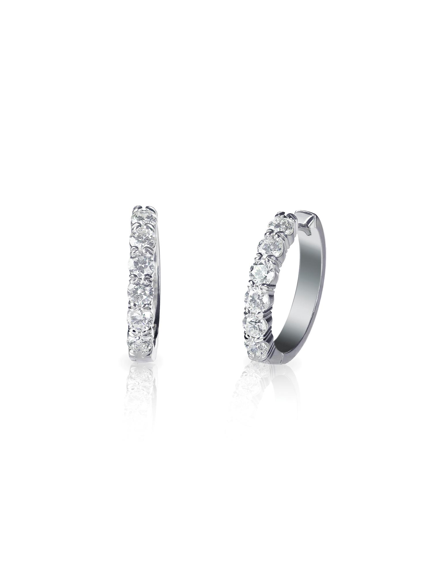 Platinum shared claw diamond hoop earrings