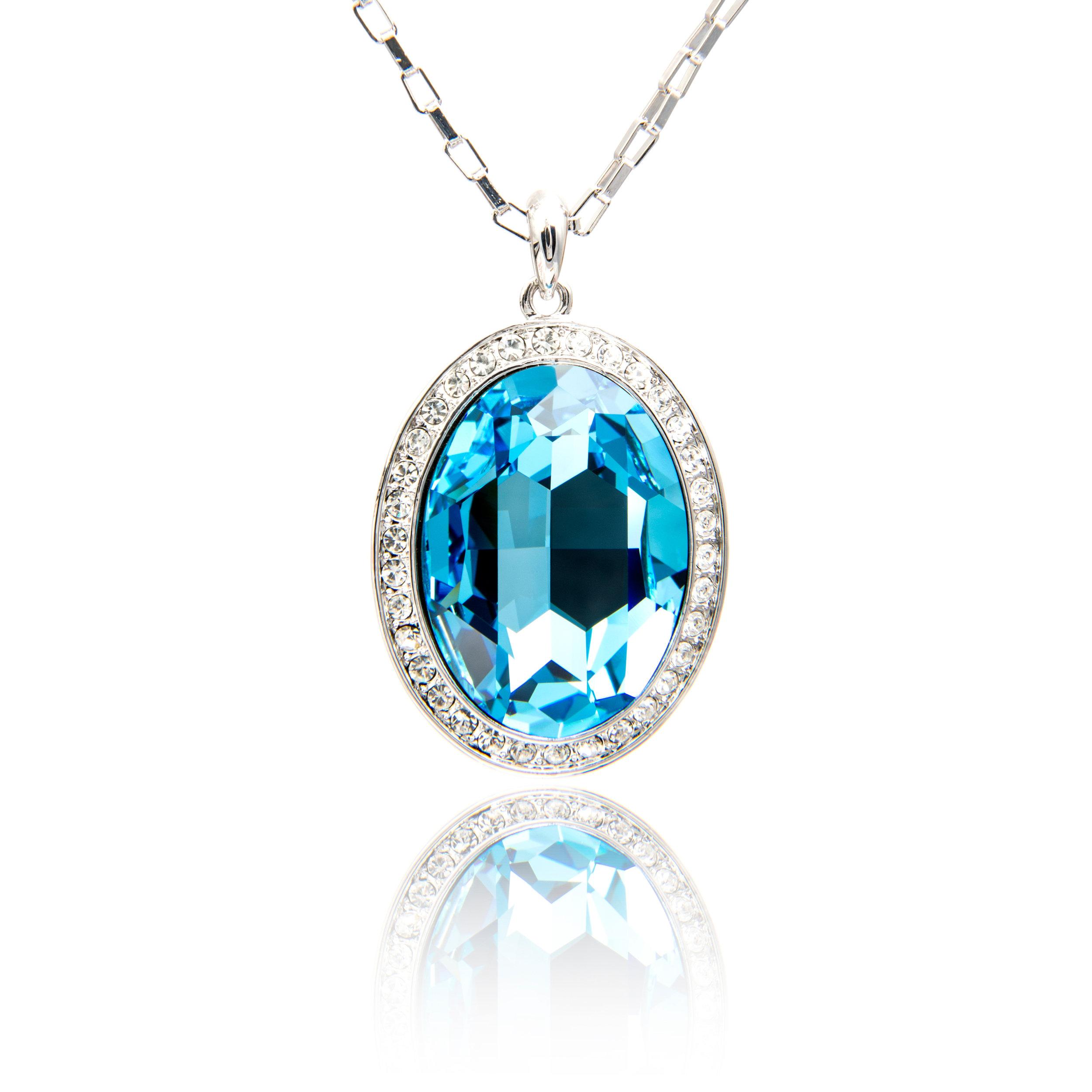 Blue Topaz Diamond Pendant
