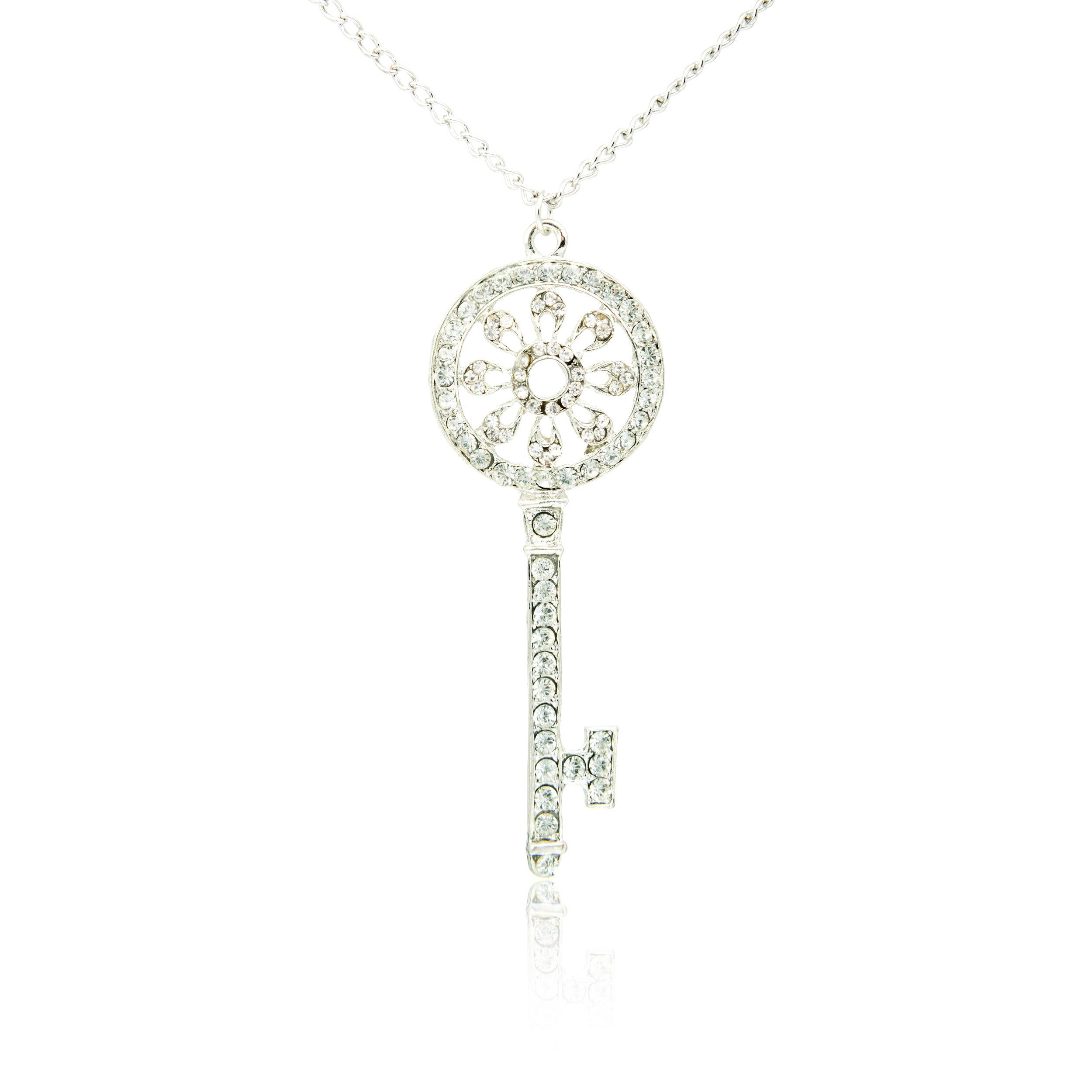 Diamond Platinum Key Pendant