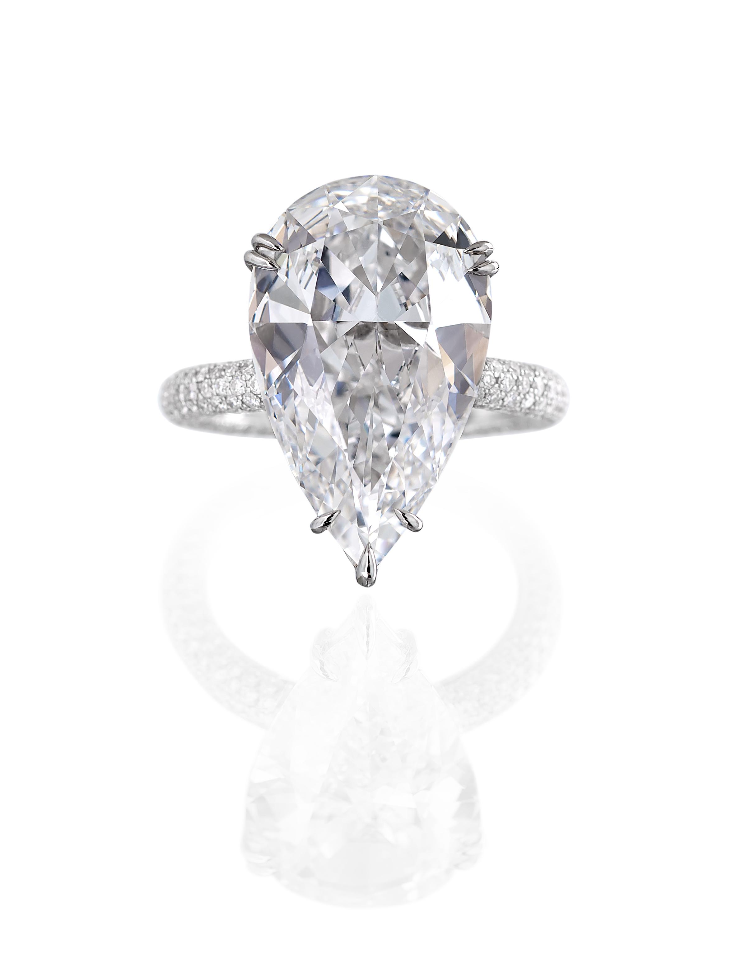 Pear Shape Diamond Pave Ring