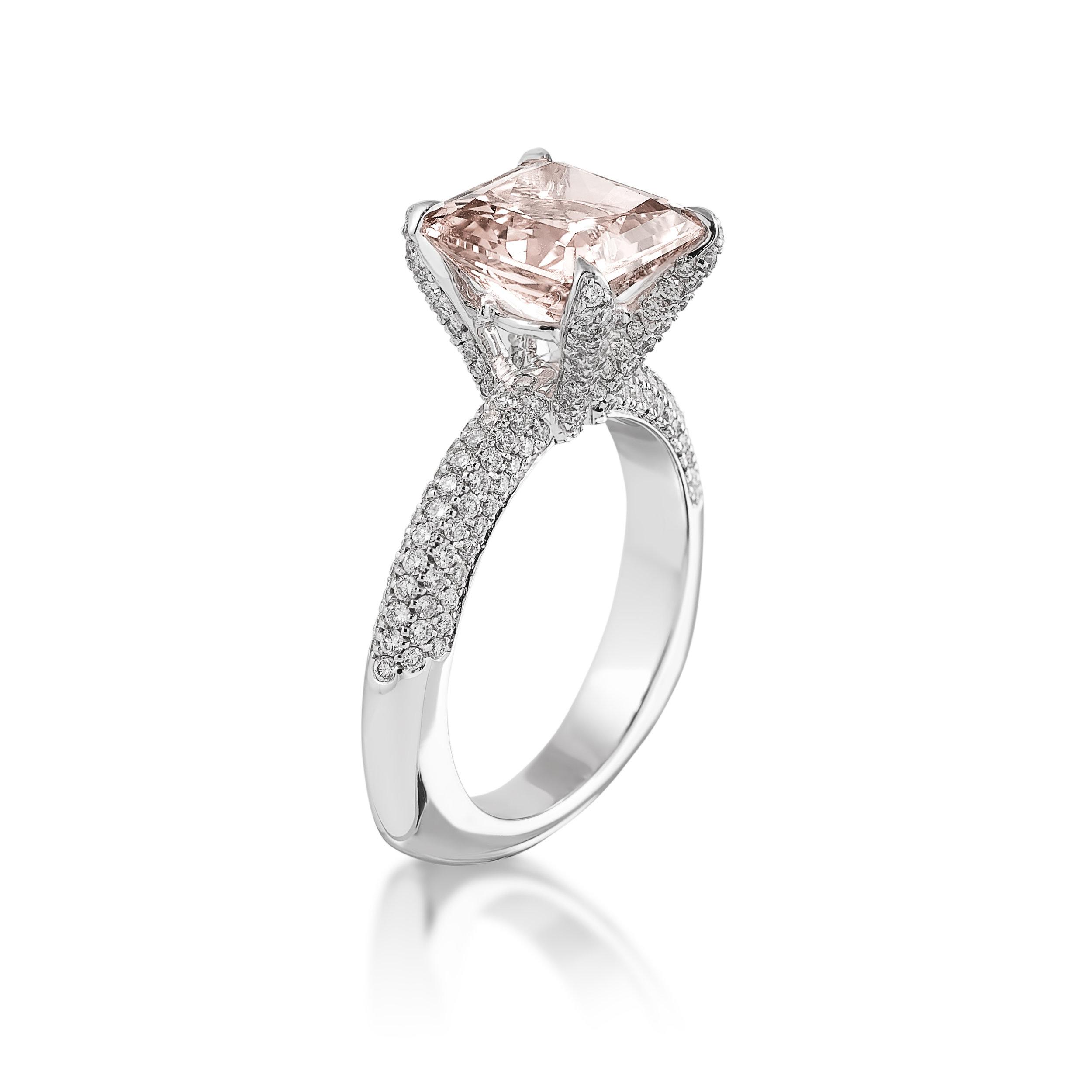Pink Saphire Diamond Ring