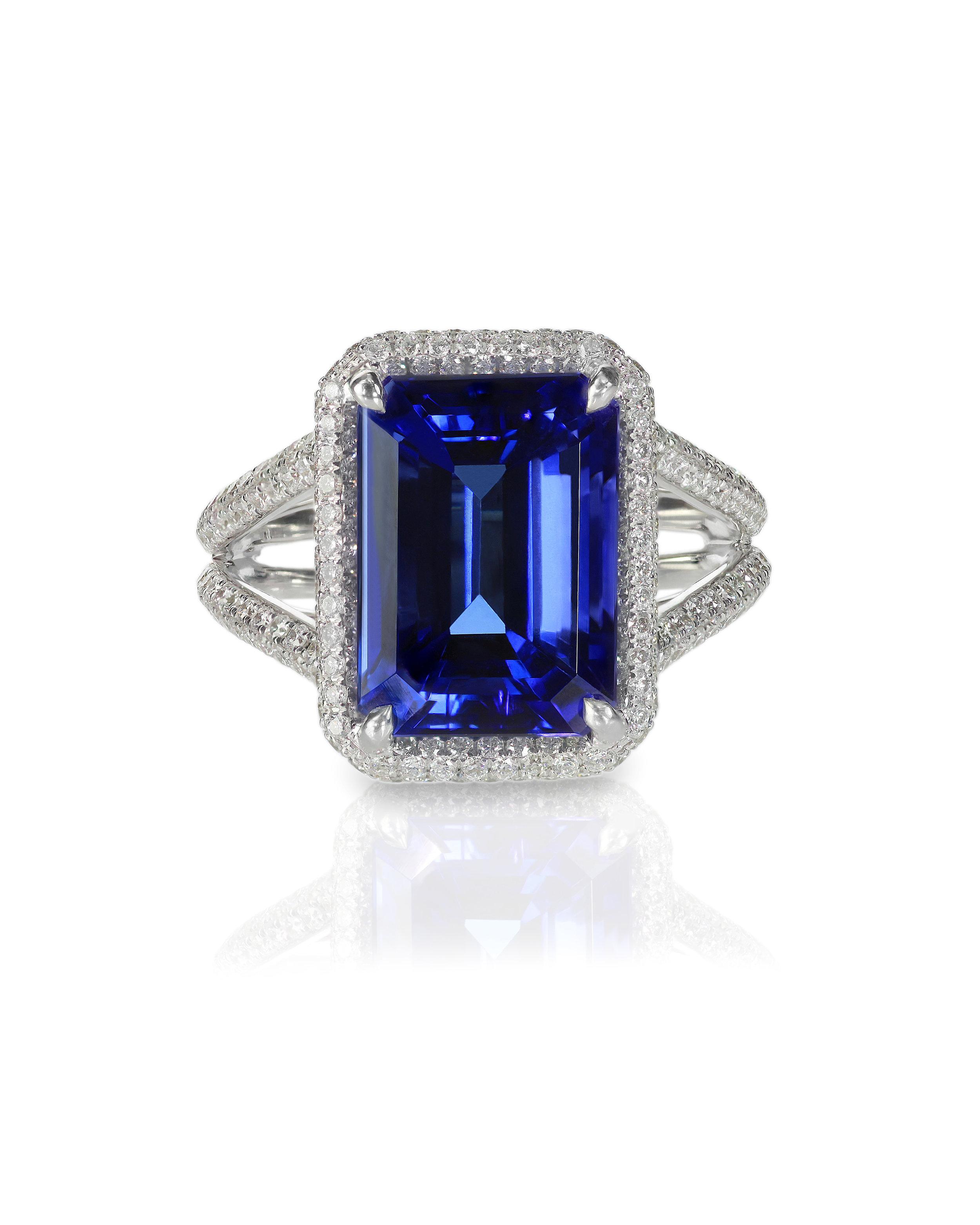 Emerald Cut Blue Sapphire Diamond Ring