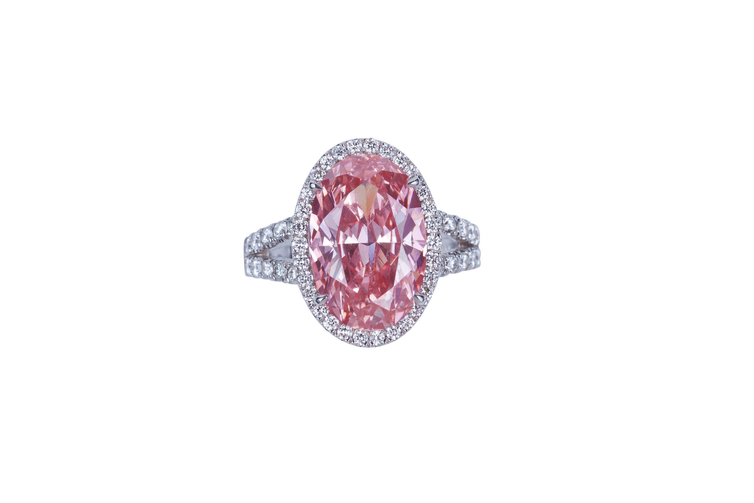 Pink Sapphire Diamond Ring Split Shank