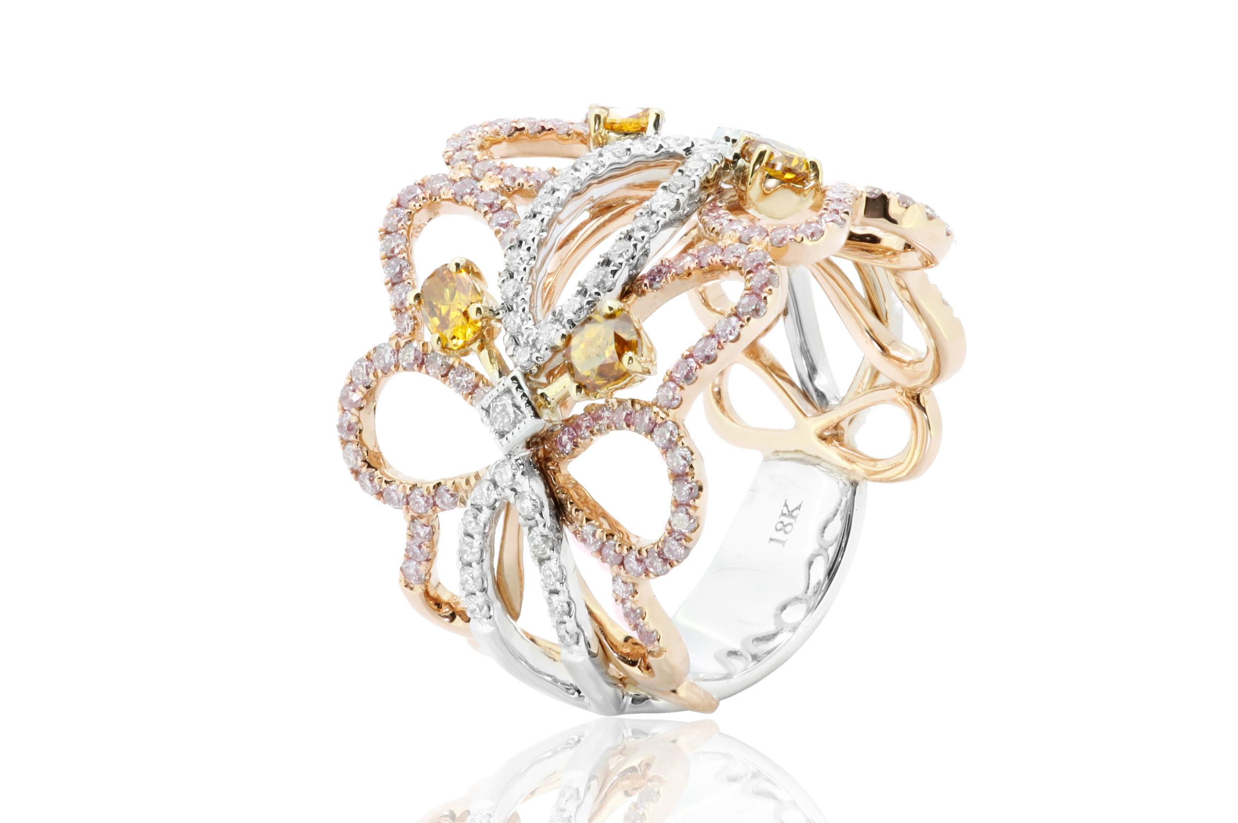 Multi Gemstone Diamond Ring