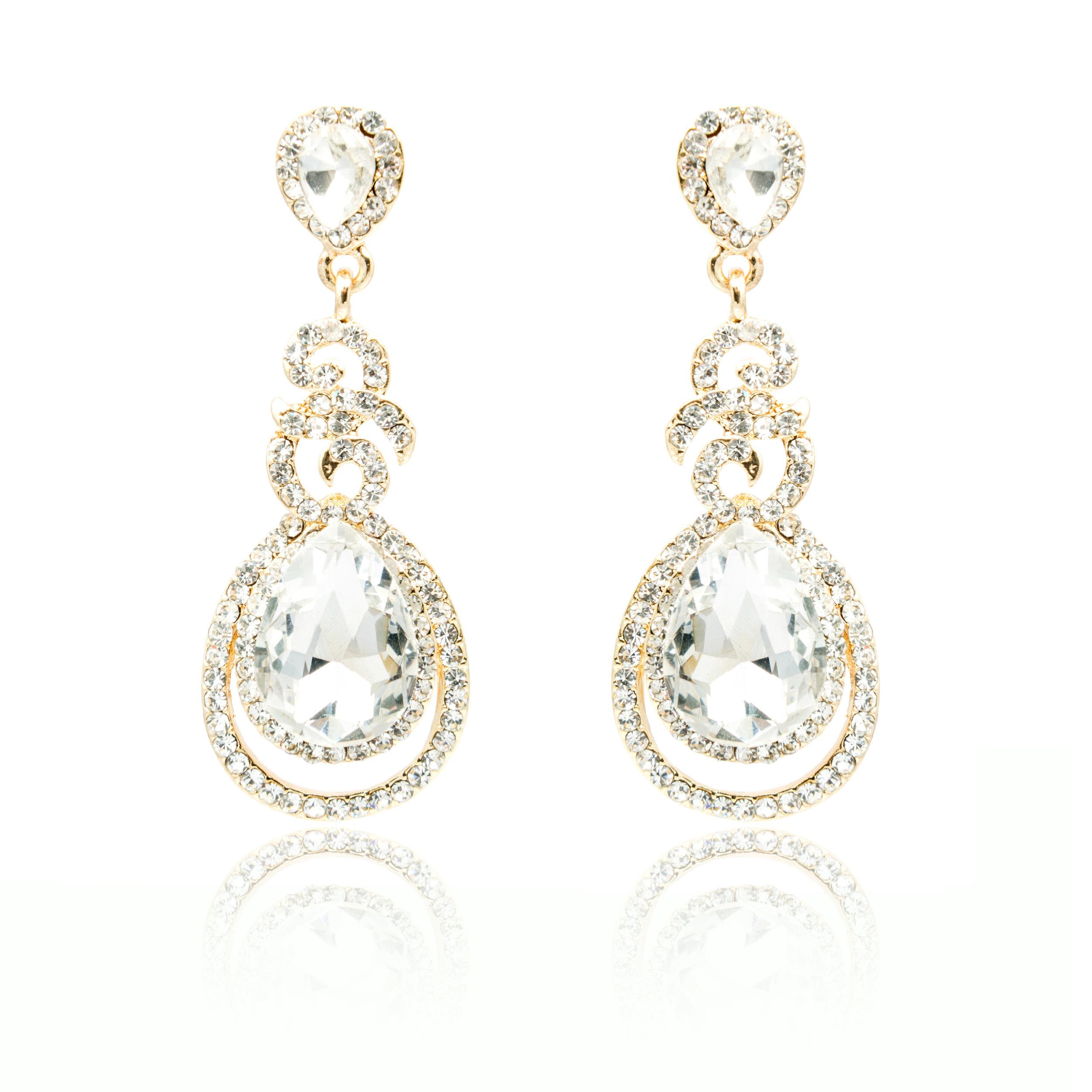 White Sapphire Dangling Diamond Earrings