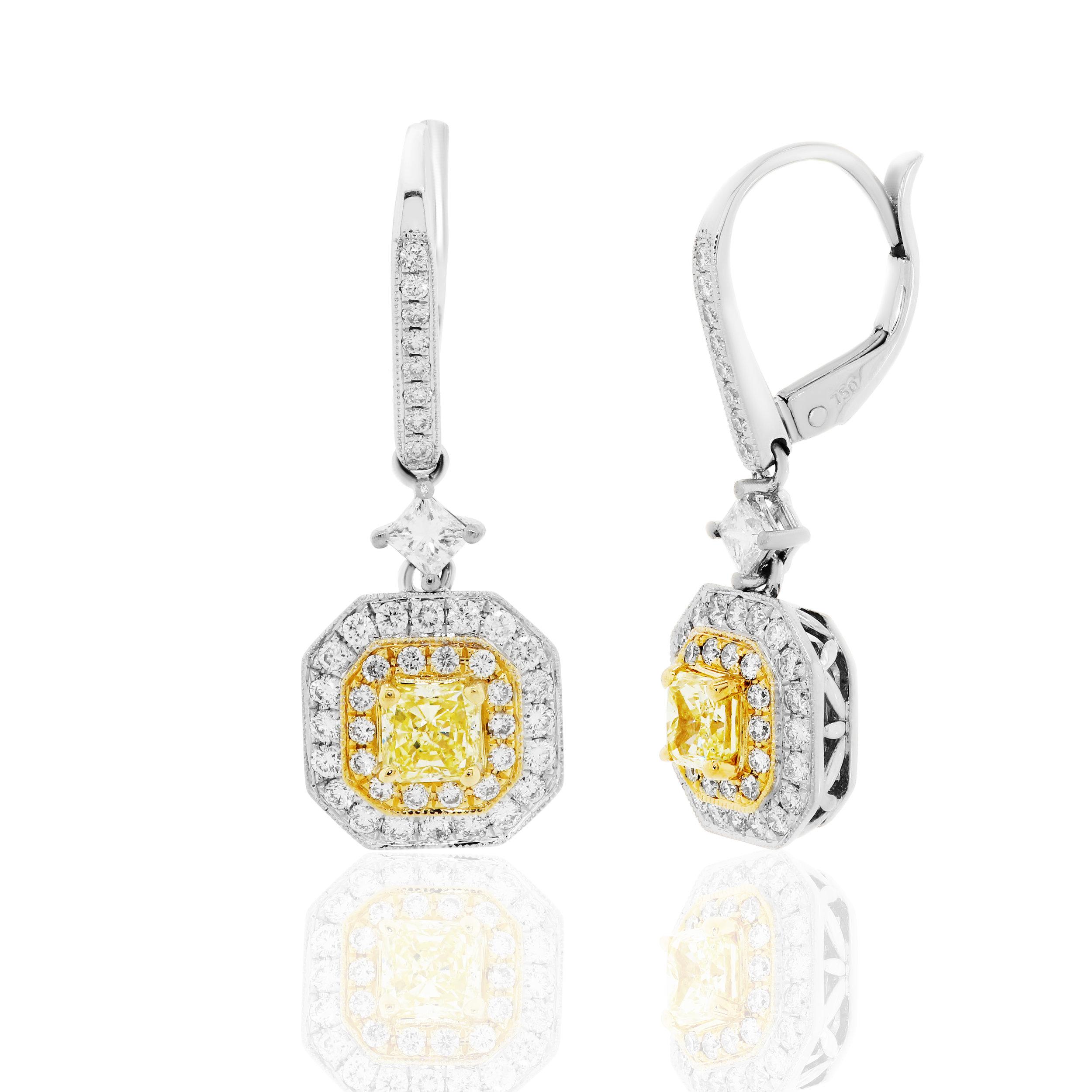 Yellow Diamond French Back Earrings