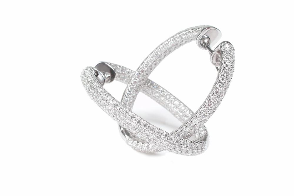 Oval Diamond Hoops