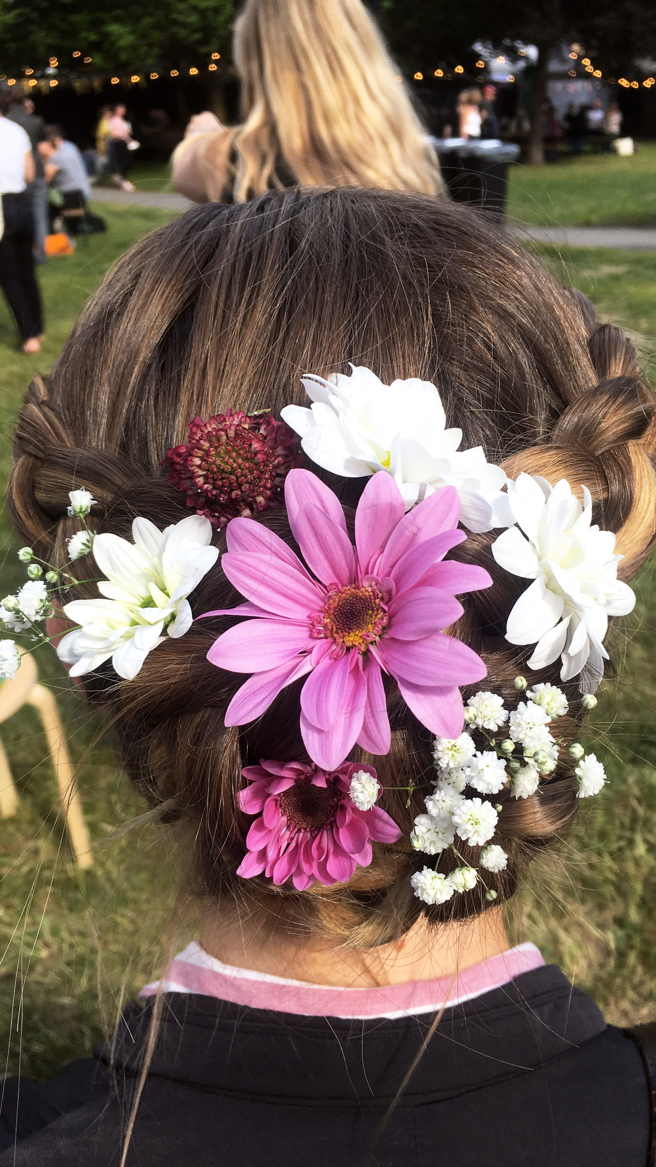 Soft Braided updo - decorated withchrysanthemums and baby's-breath