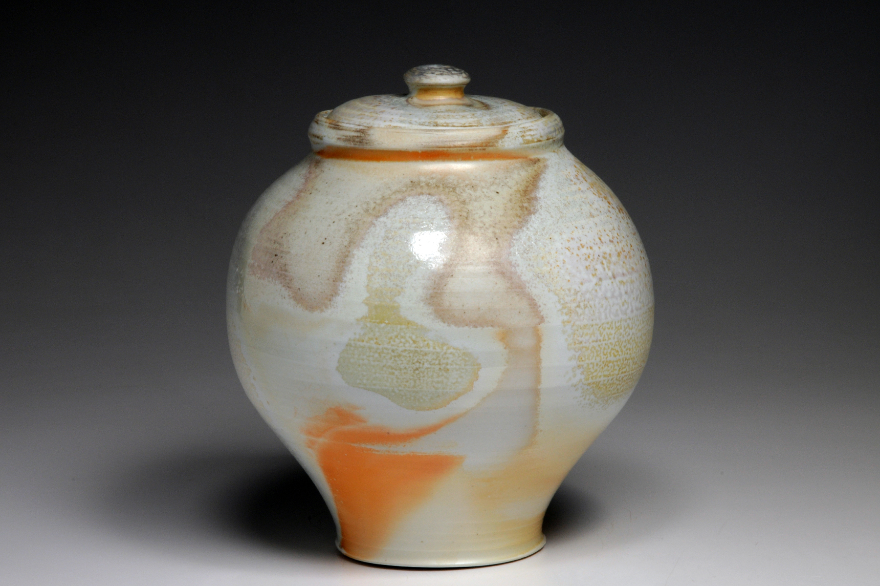 wood fired porcelain jar.