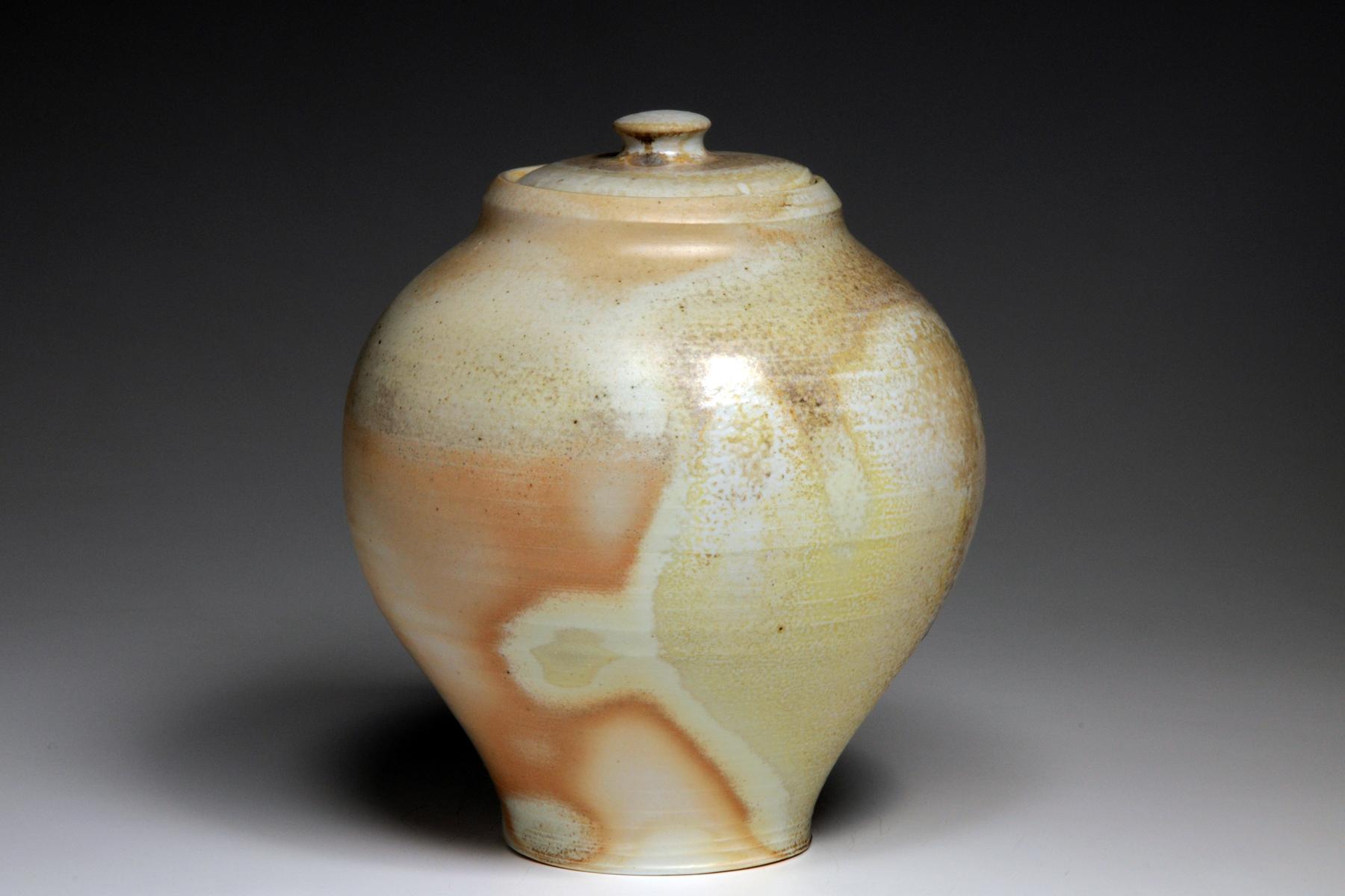 Woodfired porcelain lidded Jar.