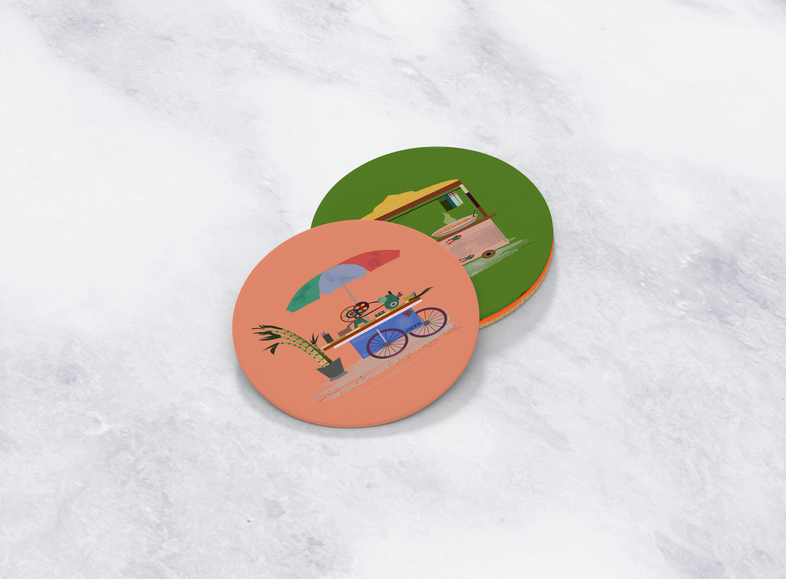 STREET FOOD coasters - a staple set of coasters perfect for your coffee table. QUIRKY AND VIBRANT food stalls REMINISCENT OF RURAL PAKISTAN AND INDIA