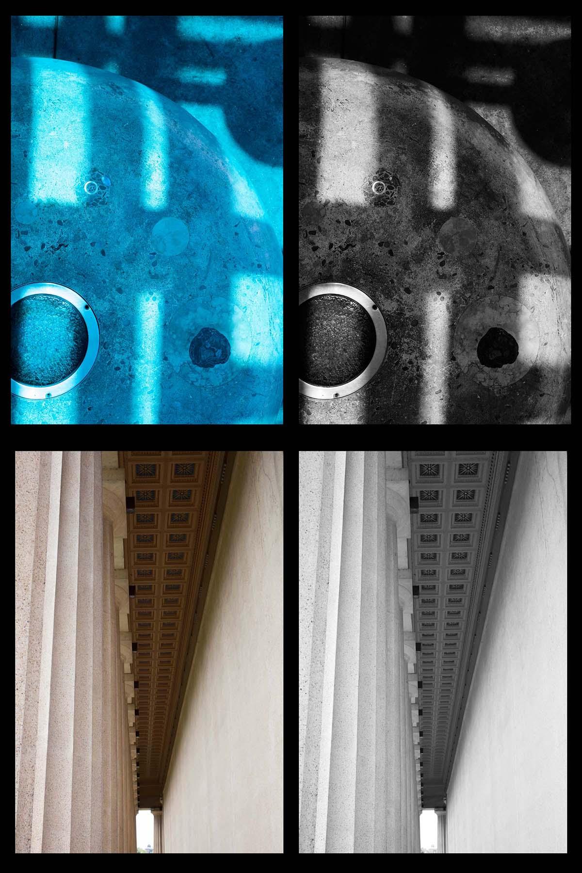 Top: LA Metro train station  Bottom: The Parthenon replica, Nashville, TN