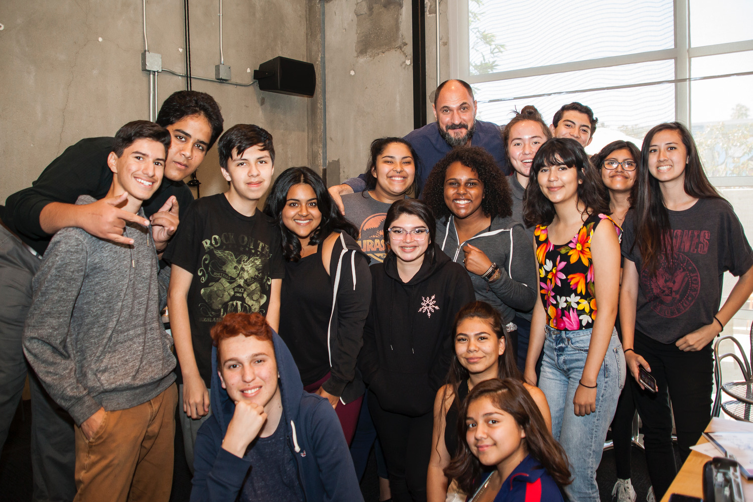 Film2Future Class of 2017 students pose with Loren Bouchard, the creator of Bob's Burgers. (Photo credit: Lauren Elisabeth Photography)