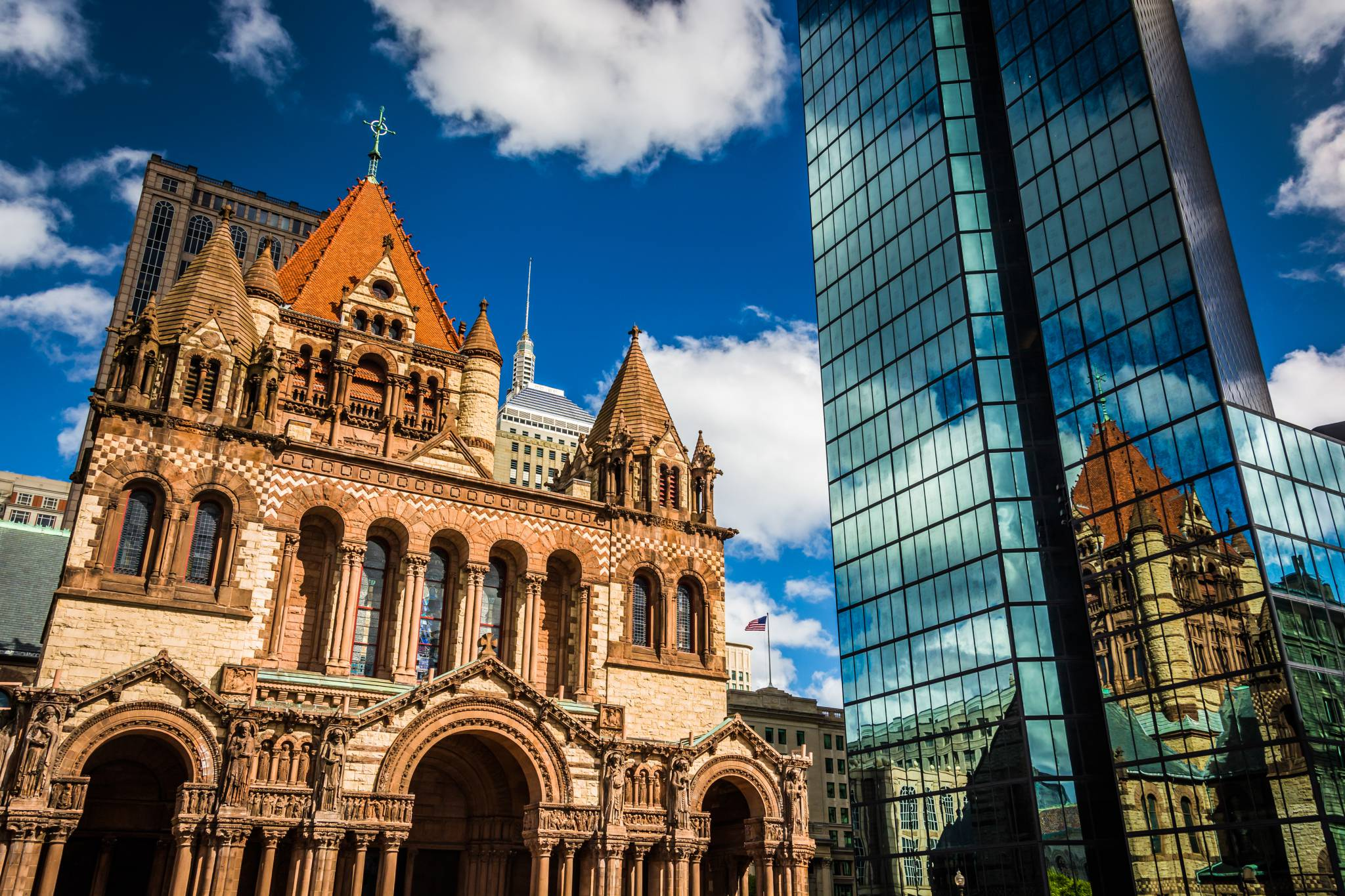 Boston's Trinity Church. A city of Contrasts