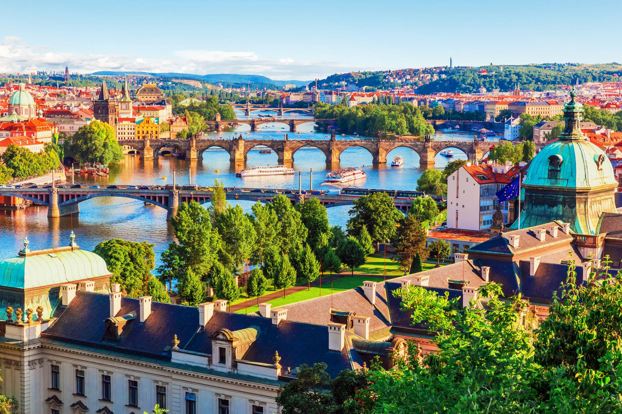 Prague bridges crossing Vltava River. Don't miss!