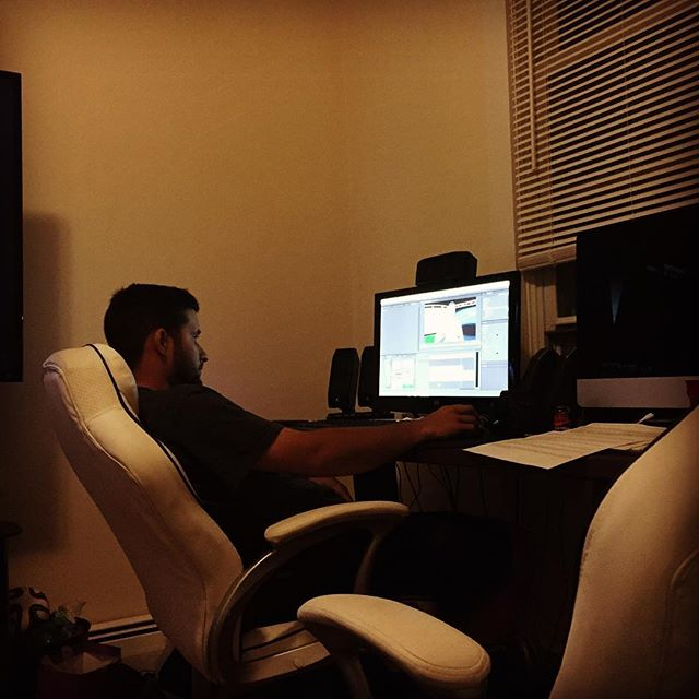 @tyler4873 working hard on editing a video to make a deadline. Been at it all day, this guy, man. Don't forget to follow us! @a_bfilms @brattseany  #hardwork #editing #allworknoplay #photoshop #bestfriend #video #atthestudio #hashtag #behindthescenes