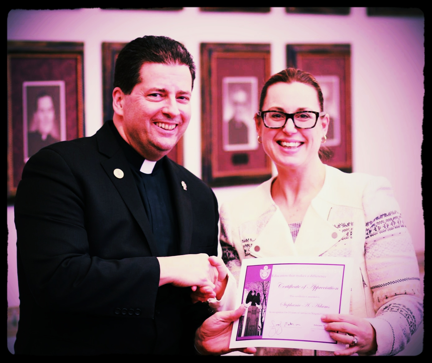 - The firm's experience with higher ed is based on Stephanie Cole Adams' over 10 years as General Counsel for Niagara University.  This is NU President Father James Maher , C.M., presenting Cole's 10-year service award.