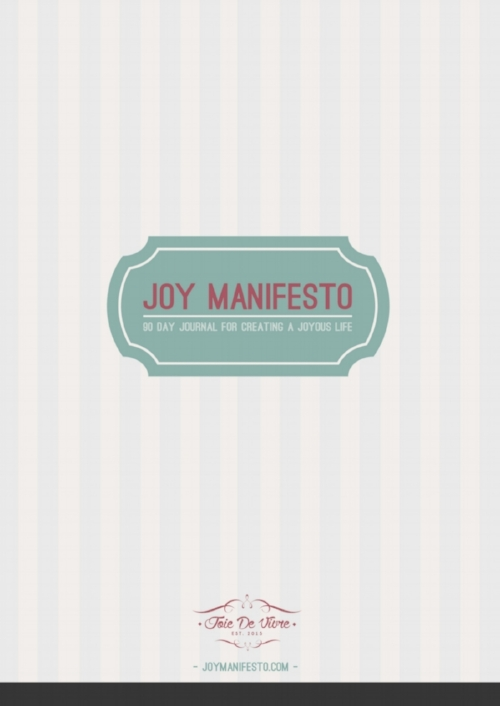 Joy Manifesto is a 90 day custom journal/planner to help you design and plan your joyous dream life.  Read more here... .