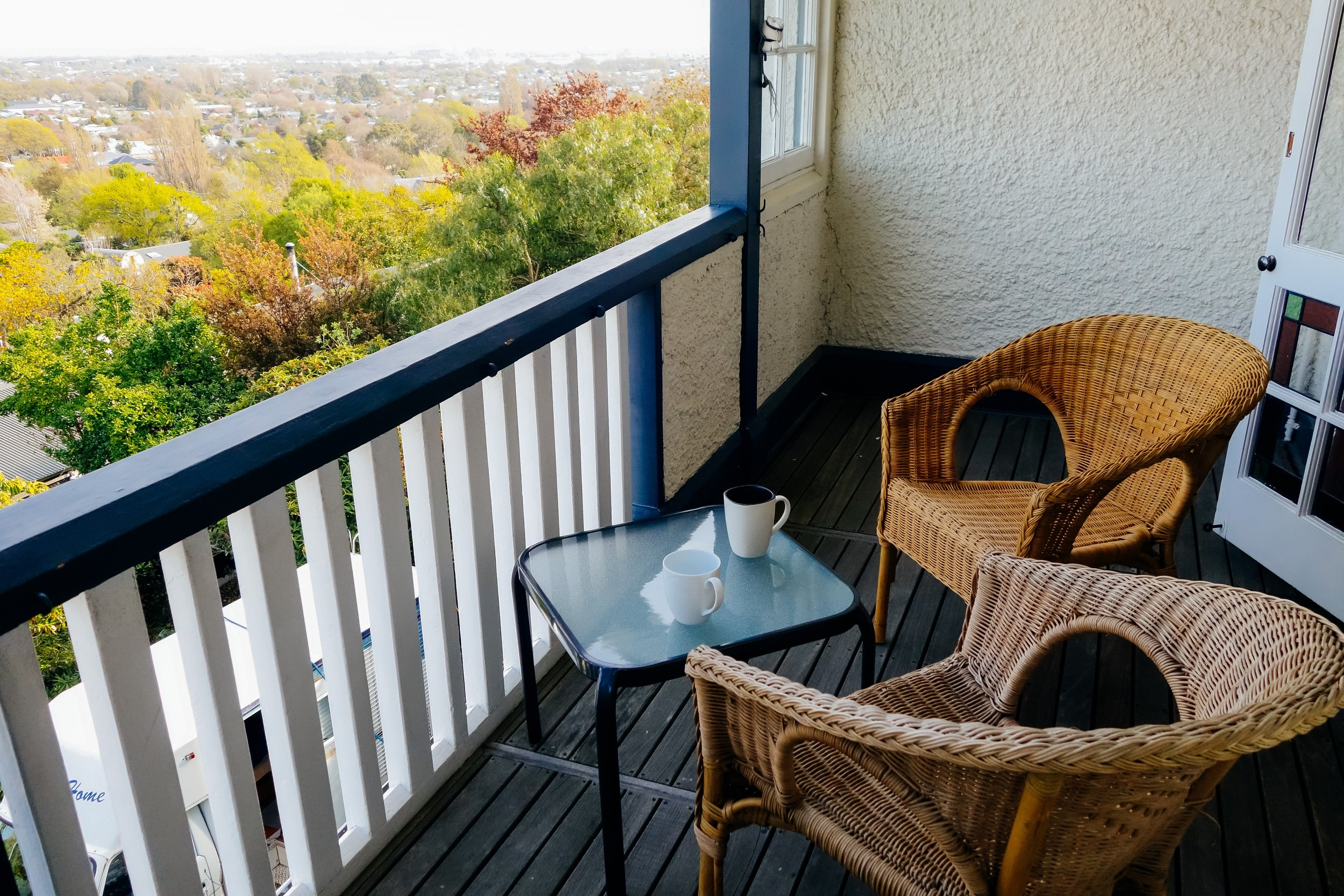 Balcony with beautiful view Christchurch