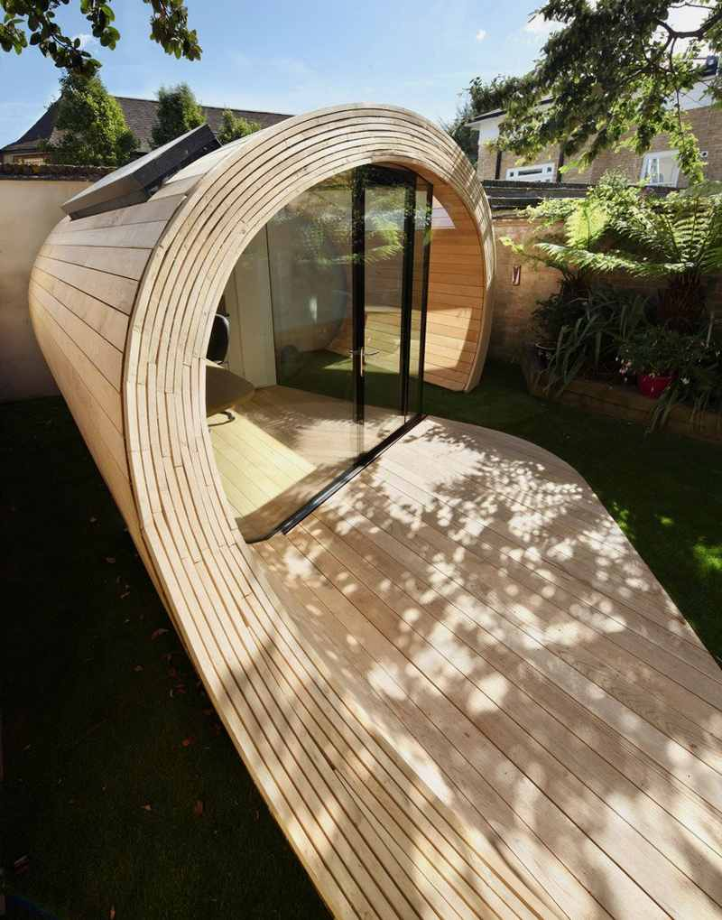 entrance-of-Modern-Shed-and-Office-Combo-in-Unique-Timber-Tube-Form.jpg