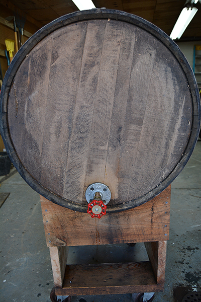 White oak bourbon barrel with custom syrup spout