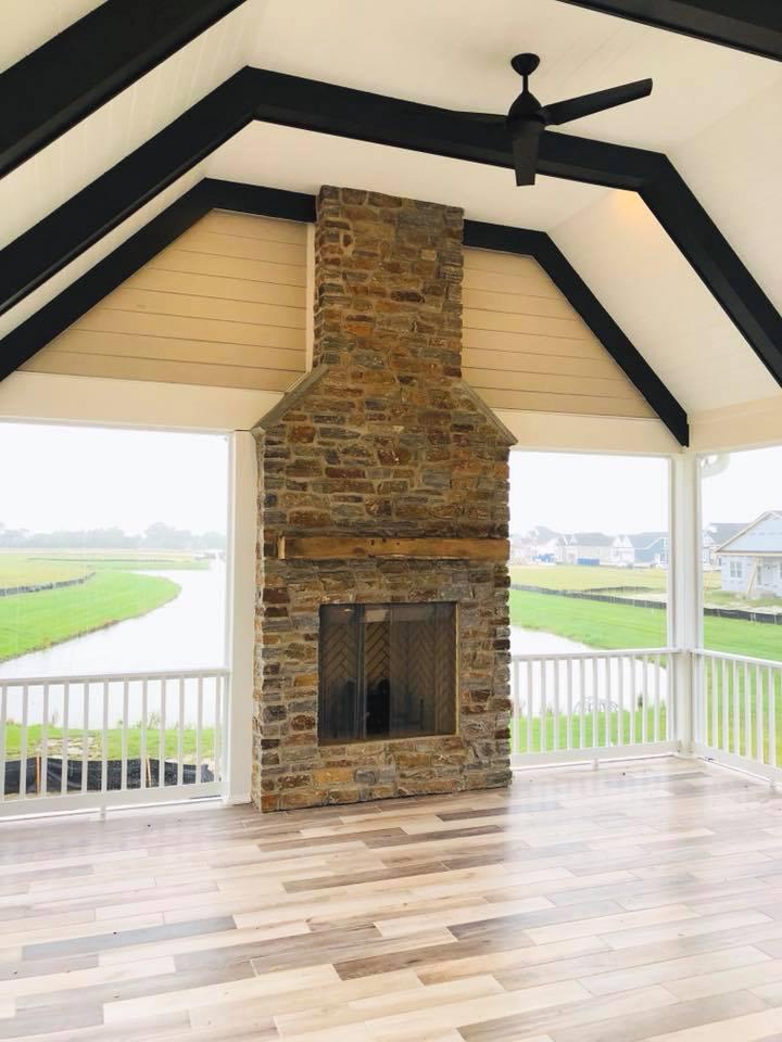 Stone Fireplace Beam Mantel Shelf