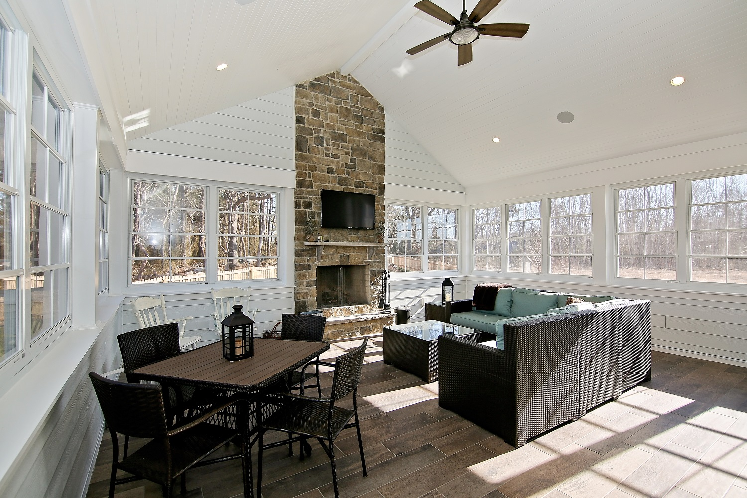 Three Season Porch Stone Fireplace