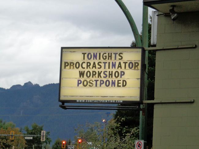 Procrastinators workshop