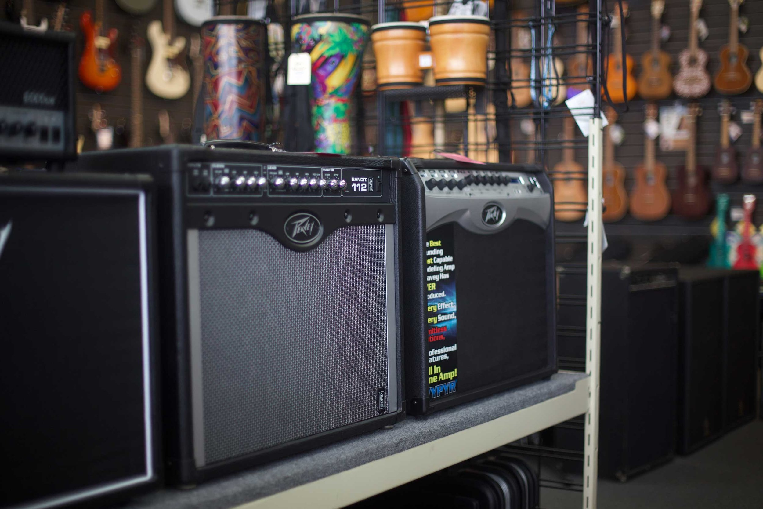 Guitar Amps - Brands like Peavy and Boss lead our guitar and bass amp inventory along with a never-ending supply of used and consignment amps of all brands.