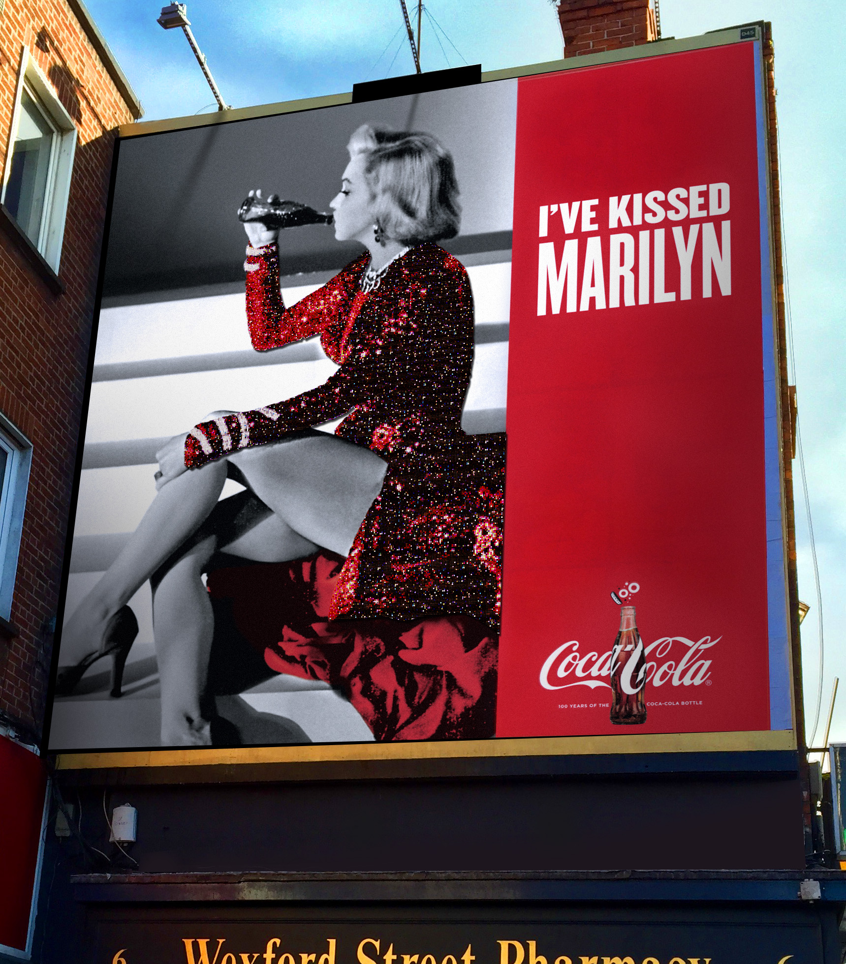 COCA-COLA  Printed billboard with sequined dress