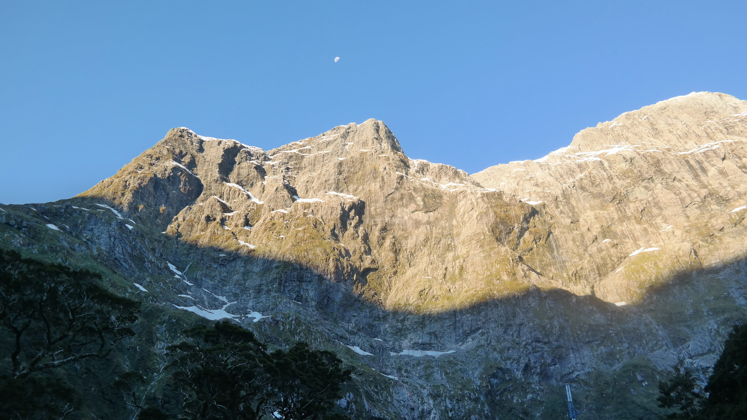 View of the moon from the front porch of Mintaro Hut.