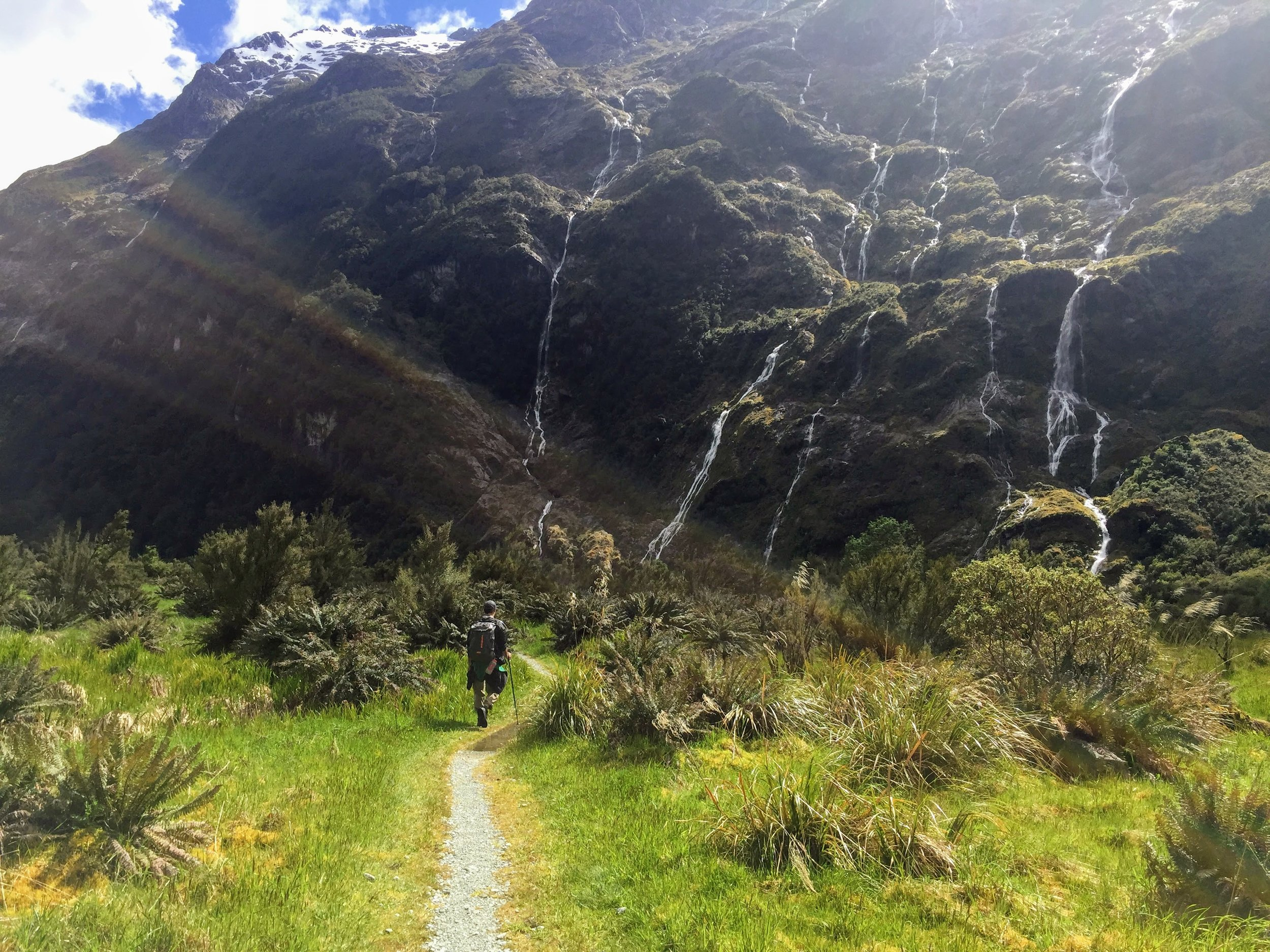 Day 2 of the hike, surrounded by waterfalls on both sides.