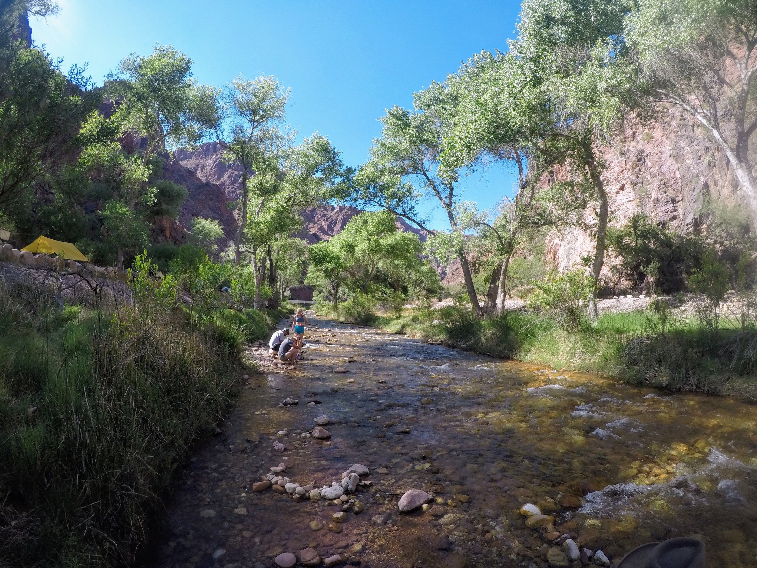 Bright Angel Creek runs to the right of the campground.