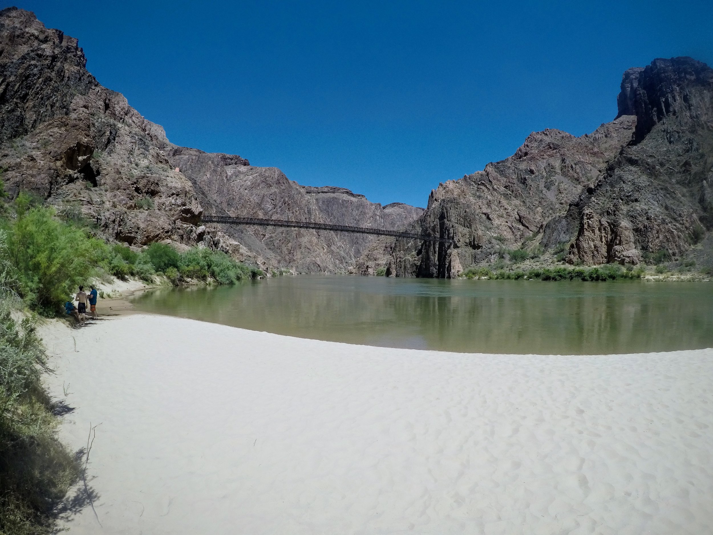View of the Colorado River from Boat Beach, a short walk from Bright Angel Campground. Bridge to South Kaibab trail in the distance.