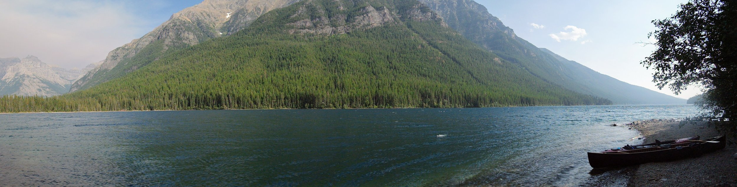 View of the lake from Bowman Lake Head Campground