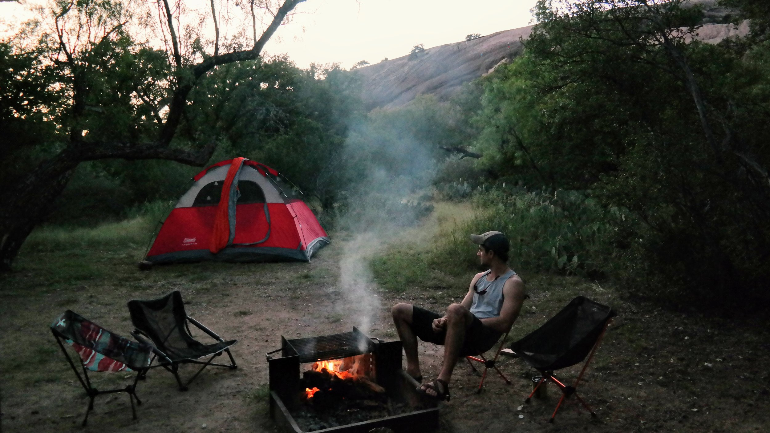 Walk-in campsite #35 with a view of the enchanted rock behind.