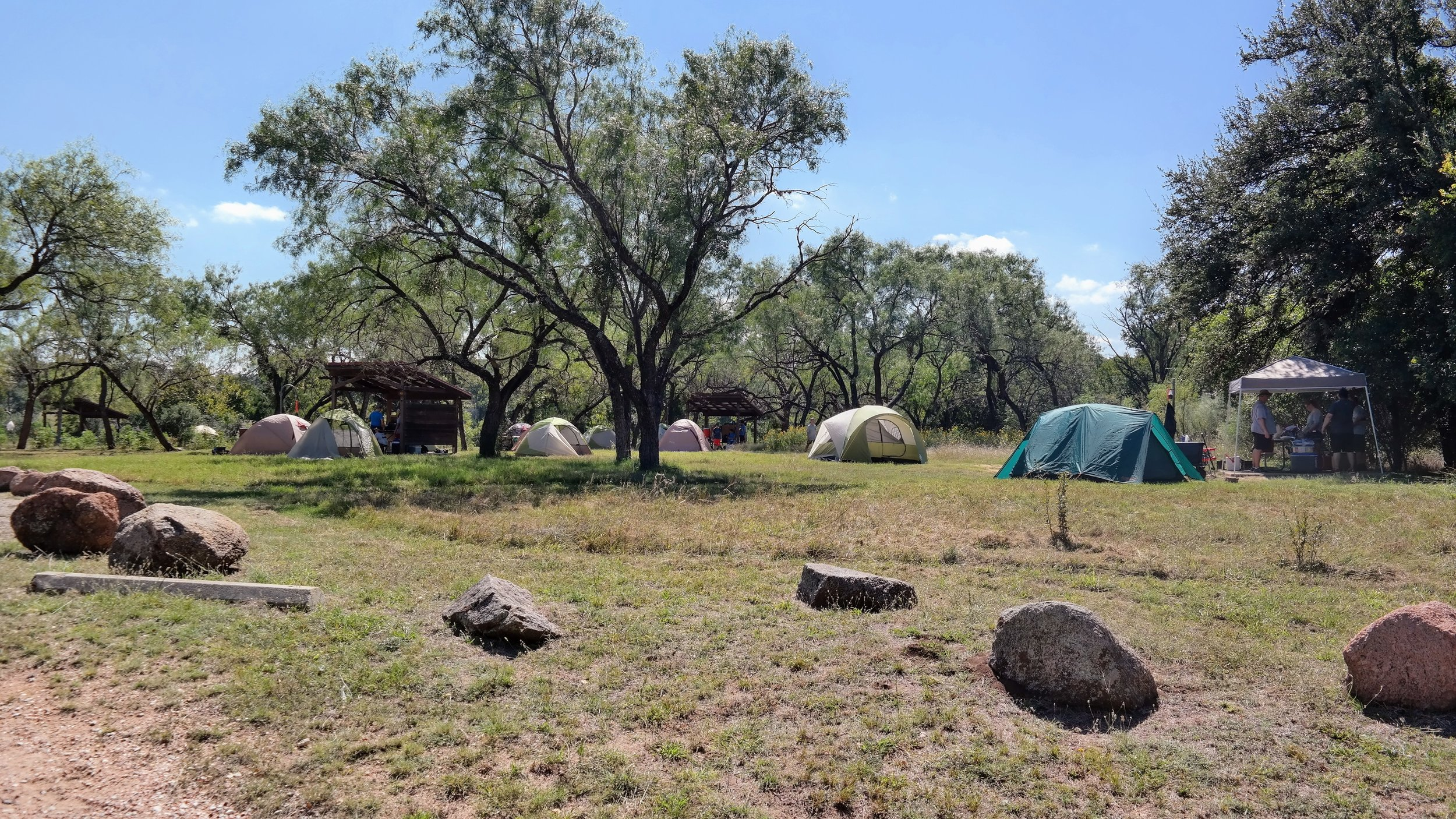 Walk-in campsites 1-21 have less trees to provide privacy.