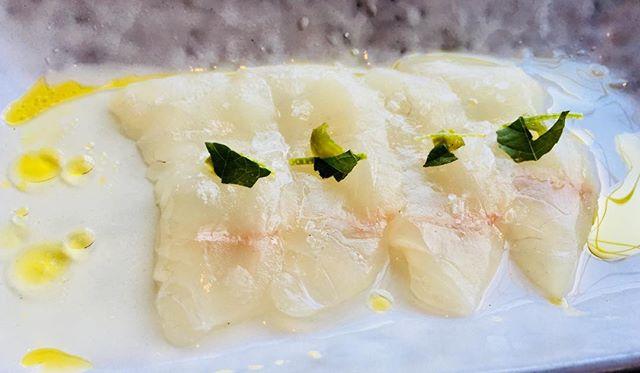 Local halibut with dashi, chili, and lime. #sashimi#eastbay#oakland