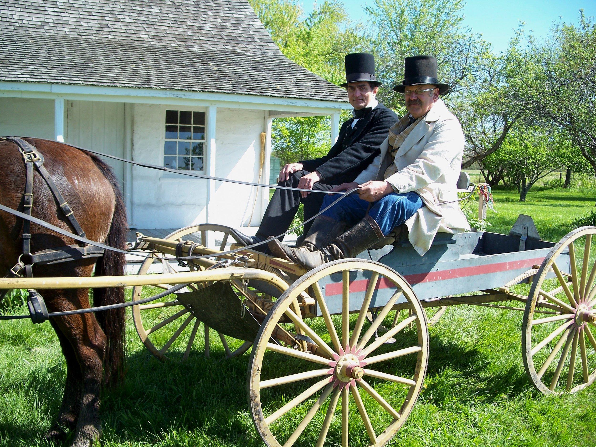 Joe Woodard as Abraham Lincoln visits the Five Mile House with Randy Jackson.