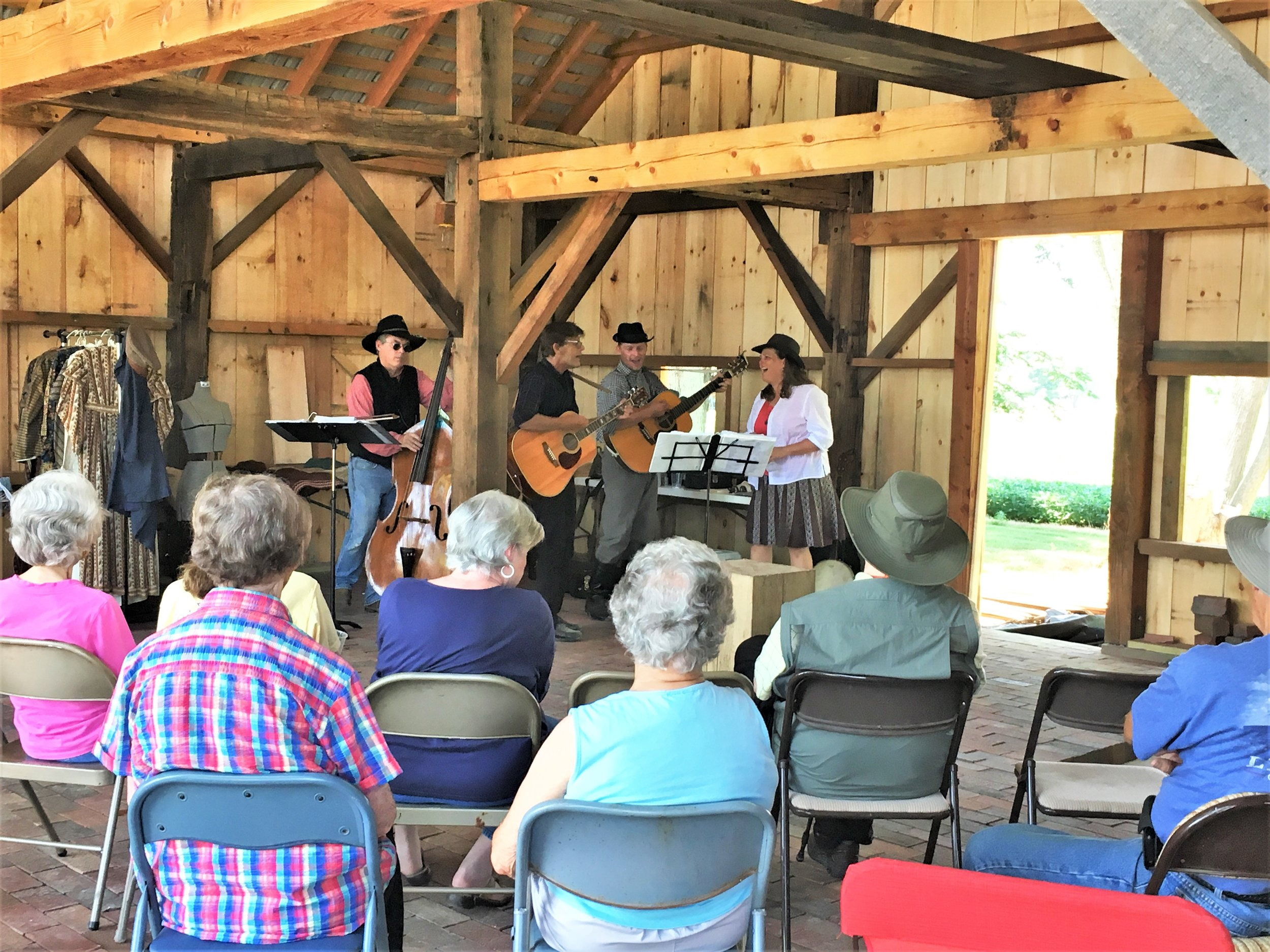 The 2019 Summer programs have been held in the new barn. Above the band Big Blue Mountain performs on August 4th.