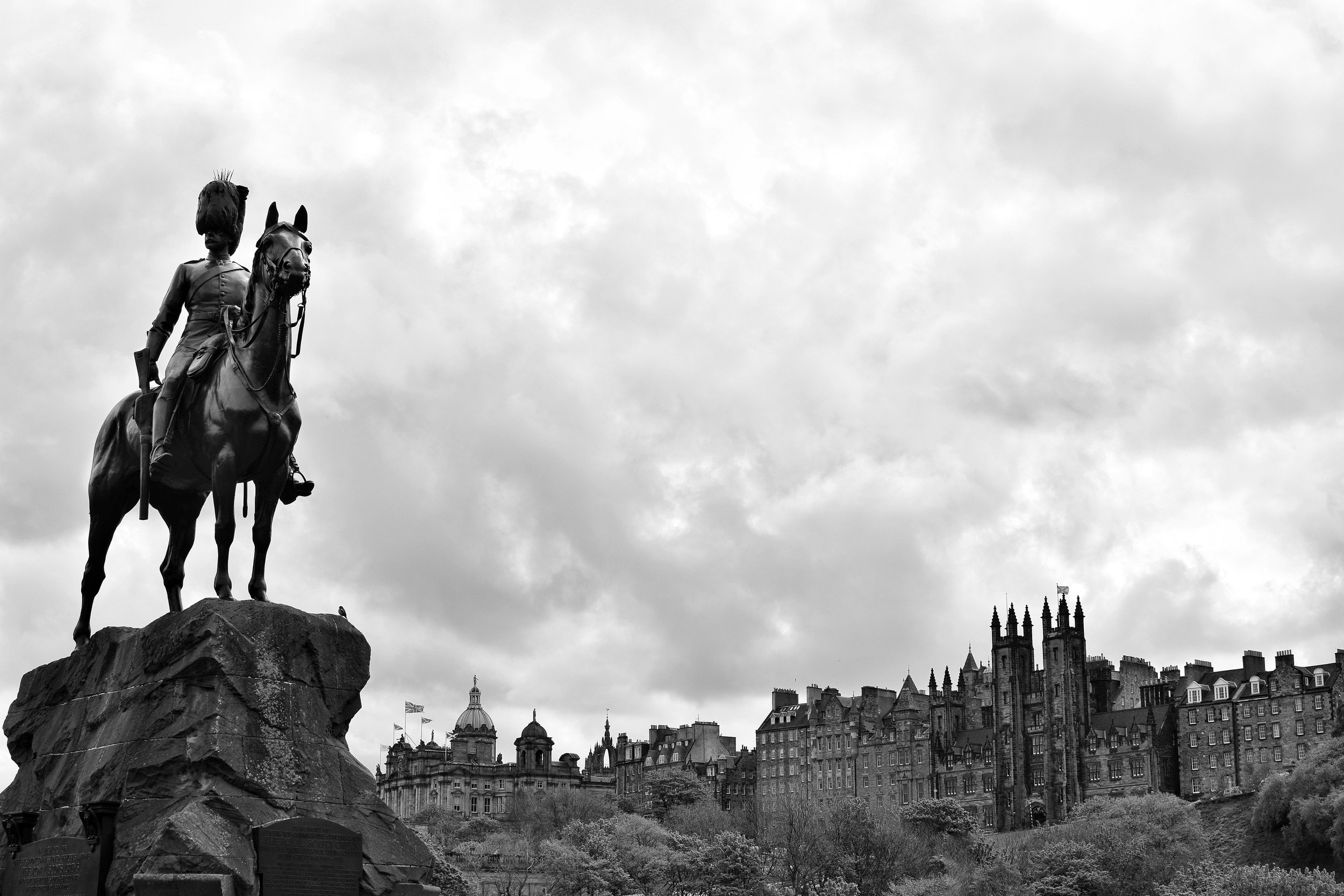The Royal Scots Greys Monument overlooking Old Town (Princes Street Gardens, Edinburgh, Scotland)
