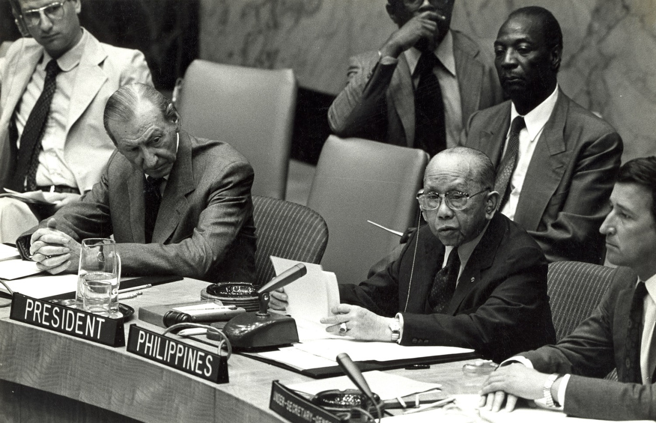 As president of the UN Security Council, Romulo addressed the meeting of July 30, 1980, with UN Secretary-General Kurt Waldheim looking on. Romulo headed up the Security Council four times, making him the only individual in history to have occupied the post for so many occasions.