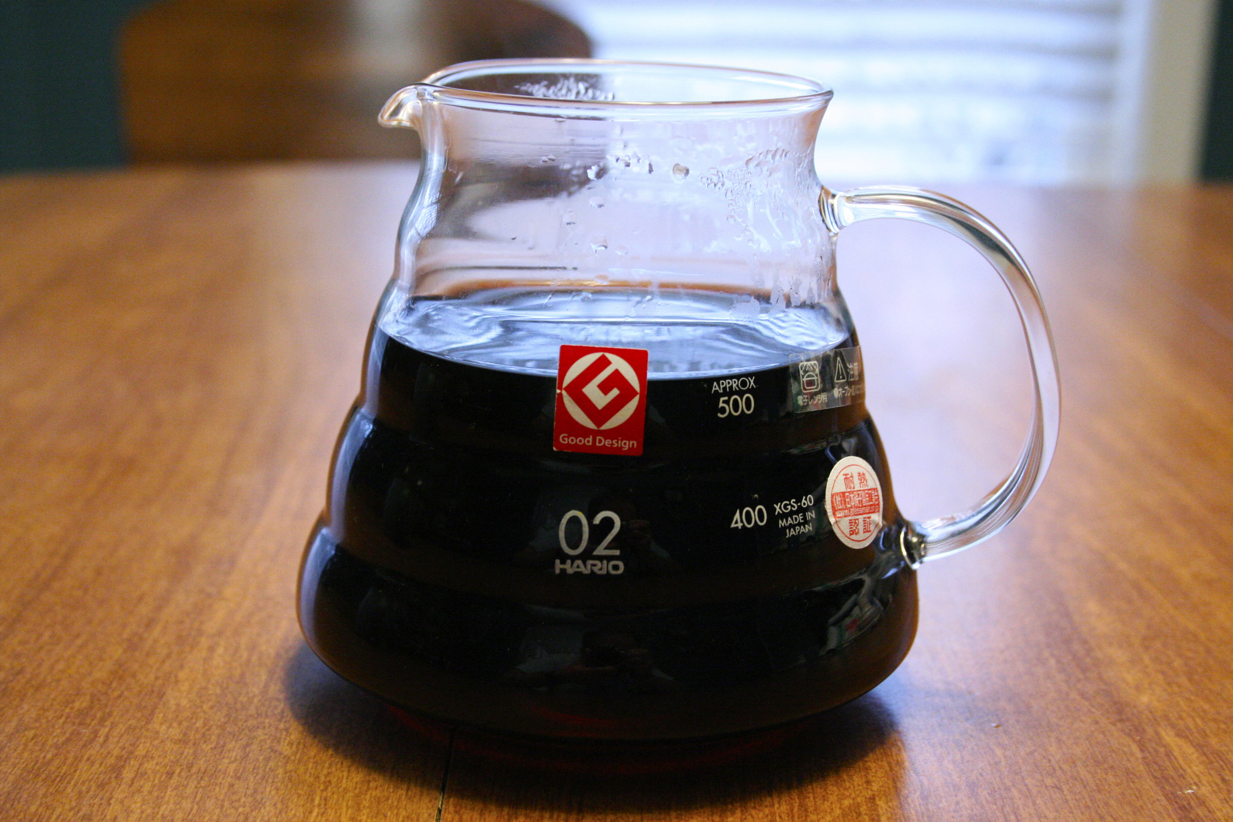 A Hario carafe of Thai Organic Decaf Coffee from Blue Spruce Decaf Coffee Co.