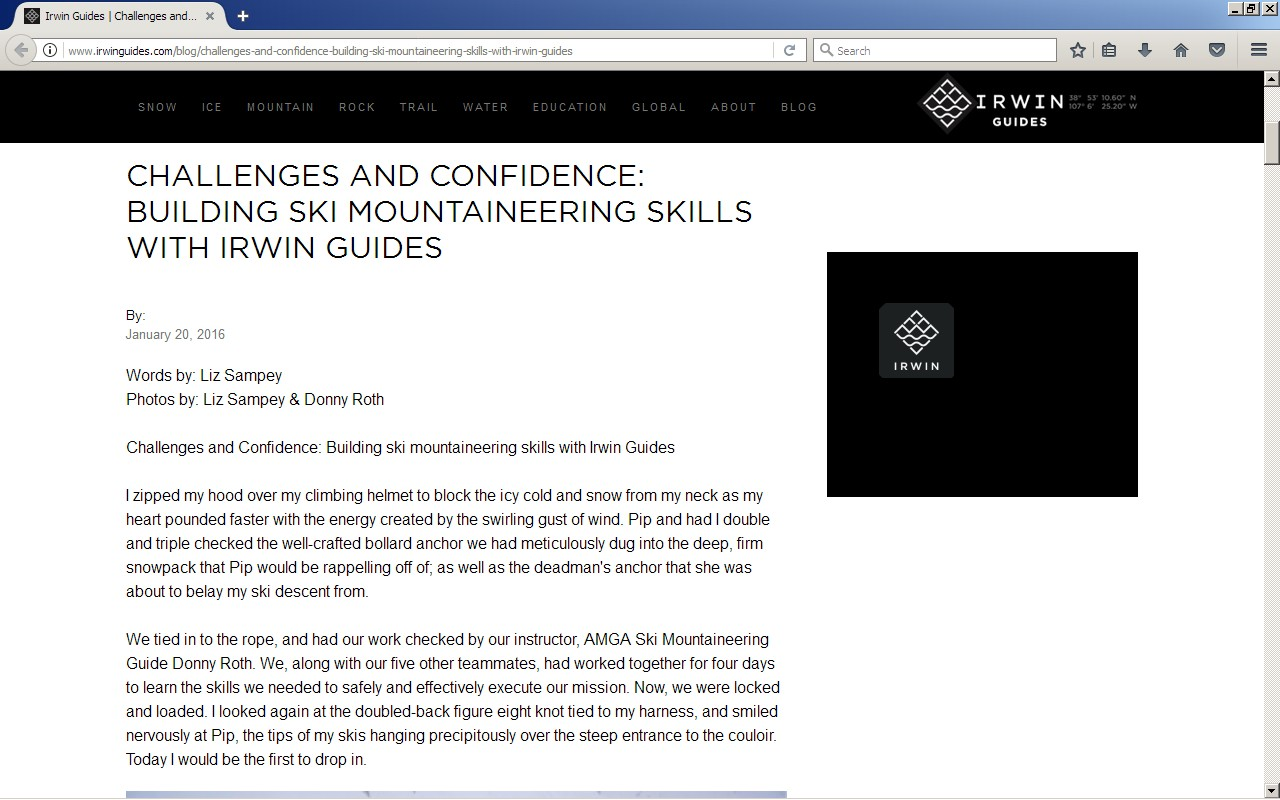 I wrote an article for Irwin Guides' website about my experiences in their spring Ski Mountaineering course.